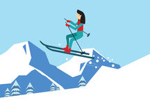 Young woman skiing.  Royalty Free Stock Photography
