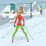 Young woman is skiing at a resort. A girl rests in the mountains Royalty Free Stock Photos