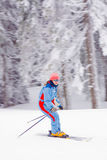Young woman skiing snow winter. Young woman, skiing down the hill during winter vacations, smiling. Shot using panning technique to emphasize movement Royalty Free Stock Image