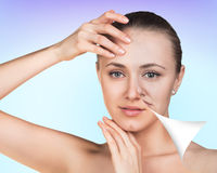 Young woman skin care concept. Royalty Free Stock Image