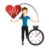 Young Woman with skipping rope. Fitness concept. Heart health design. Flat style illustration. Vector illustration Royalty Free Stock Photography