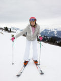 Young Woman On Skis royalty free stock photo