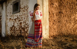 Young woman in Slavic Belarusian national original suit outdoors Royalty Free Stock Images