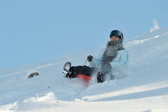 Young woman with sled outdoor in winter Stock Photos