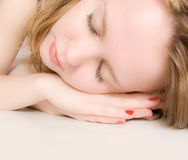 Young woman sleeping. Young beautiful woman sleeping.  relaxation Stock Images