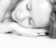 Young woman sleeping. Black and white Royalty Free Stock Photo