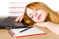 Young Woman Sleeping At Her Workplace Stock Photography
