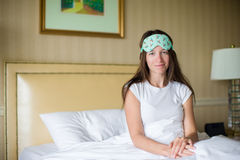 Young woman sleeping in the bed Royalty Free Stock Photos