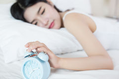 Young woman sleeping on bed f Royalty Free Stock Photo
