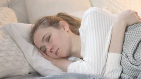 Young Woman Sleeping in Bed stock footage