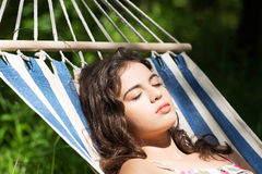 Young woman sleeping in a hammoc Royalty Free Stock Photo