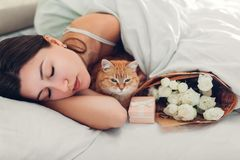 Young woman sleeping near bouquet of roses and gift box in bed with cat. Present left by boyfriend for Women`s day. Surprise stock images
