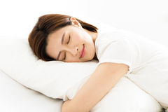 Young woman sleeps in the bedroom Royalty Free Stock Photo