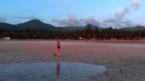 A young woman jogging at the beach on sunset. aerial drone shot, slow motion. A young woman with a slender figure jogging at the beach at sunset. She makes a stock footage