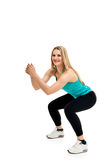 Young woman with slim body. squats Stock Photos