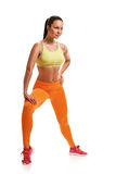 Young woman with slim body. stretching training Royalty Free Stock Photography