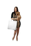 Young woman with small dog Royalty Free Stock Images