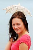 Young woman with small lace umbrella Stock Image