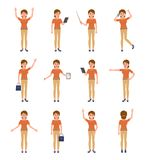 Young woman in smart casual look cartoon character set. Happy, sad, surprised, angry female. royalty free illustration