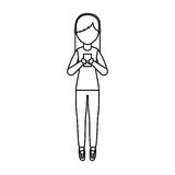 Young woman with smartphone avatar character Royalty Free Stock Photo