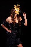 Young woman smell black rose Royalty Free Stock Photos