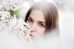 Young woman smelling cherry tree flower Stock Photo