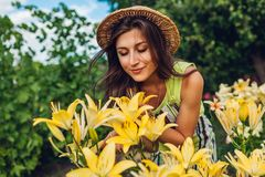 Young woman smelling flowers in garden. Gardener taking care of lilies. Gardening concept stock images