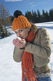 Young woman smelling snow Royalty Free Stock Photo