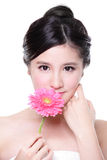 Young woman smile face with flower Royalty Free Stock Images