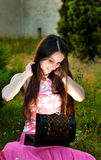 Young woman open a jewelry box Stock Photography