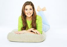 Young woman smile. Lying on floor Stock Photos