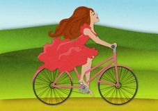 Young woman with smile rides on bike across flowering spring field. Beautiful girl in red dress rides bicycle with positive emotions. Young woman with smile Stock Images
