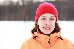 Young woman smiles in winter outdoors Stock Images