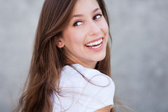 Young woman smiling. Portrait of young woman smiling Stock Photo