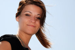 Young woman smiling. Portrait of Young woman smiling Royalty Free Stock Image