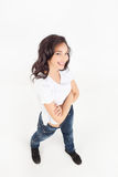 Young woman smiling with arms crossed Royalty Free Stock Photos