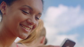 Young woman smiling. Close up of happy girl. Positive emotion on woman face. Young woman smiling. Closeup of happy girl. Positive emotion on woman face. Mulatto stock footage