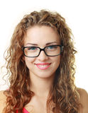 Young woman smiling  eyeglasses Stock Images