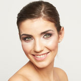 Young woman smiling face isolated on white backgro. Und. Beauty female model Stock Images