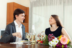 Young woman smiling with his husband Royalty Free Stock Photos