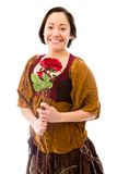 Young woman smiling with holding red rose Royalty Free Stock Photos