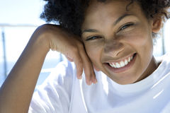 Young woman smiling, portrait, close-up Stock Image