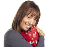 Young Woman Smiling with red gift bag Royalty Free Stock Images