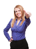 Young woman smiling showing thumb up gesture Stock Images