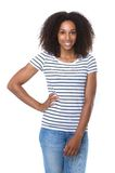 Young woman smiling with striped shirt Royalty Free Stock Photography