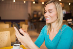 Young woman smiling while using mobile phone Royalty Free Stock Image