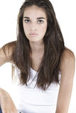 Young woman smiling on white backgrond Royalty Free Stock Image