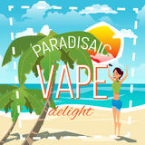 A young woman smokes an electronic cigarette and produces a cloud of smoke. Advertising illustration. Summer sunny day on the sea beach. A young woman smokes an Royalty Free Stock Image