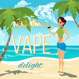 A young woman smokes an electronic cigarette and produces a cloud of smoke. Advertising illustration. Summer sunny day on the sea beach. A young woman smokes an Royalty Free Stock Photography