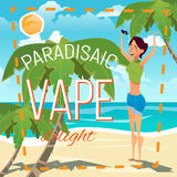 A young woman smokes an electronic cigarette and produces a cloud of smoke. Advertising illustration. Summer sunny day on the sea beach. A young woman smokes an Royalty Free Stock Photos